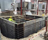 Construyendo deposito agua para hospital
